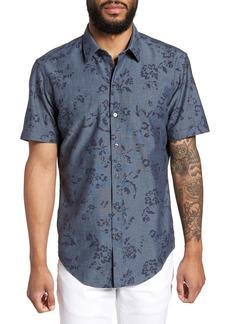 Hugo Boss BOSS Robb Trim Fit Floral Short Sleeve Sport Shirt