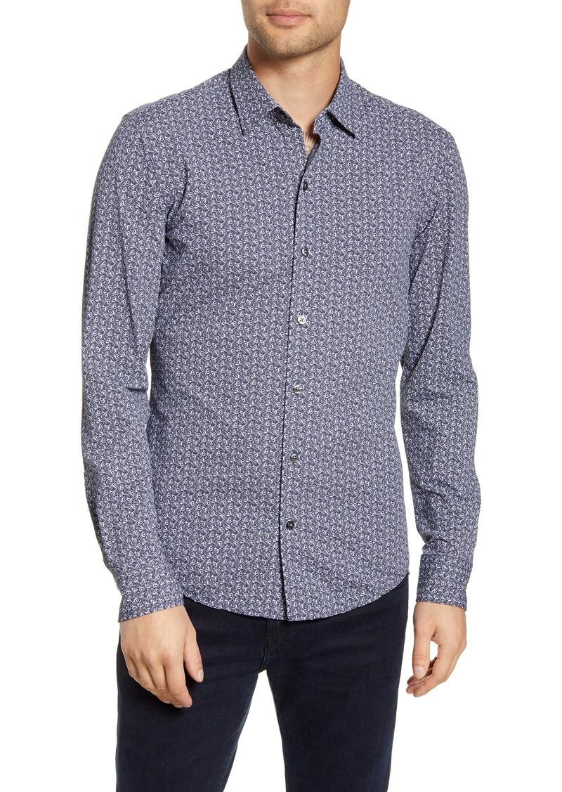 Hugo Boss BOSS Robbie Sharp Fit Floral Print Button-Up Performance Shirt