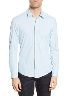 Hugo Boss BOSS Robbie Slim Fit Diamond Print Button-Up Performance Shirt