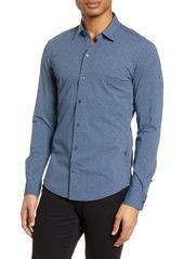 Hugo Boss BOSS Robbie Slim Fit Micro Geo Print Button-Up Performance Shirt