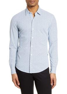 Hugo Boss BOSS Robbie Slim Fit Microprint Performance Button-Up Shirt