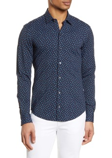 Hugo Boss BOSS Robbie Slim Fit Mini Floral Print Button-Up Performance Shirt