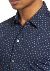 Hugo Boss BOSS Robbie Slim Fit Mini Floral Print Button-Up Performance Shirt