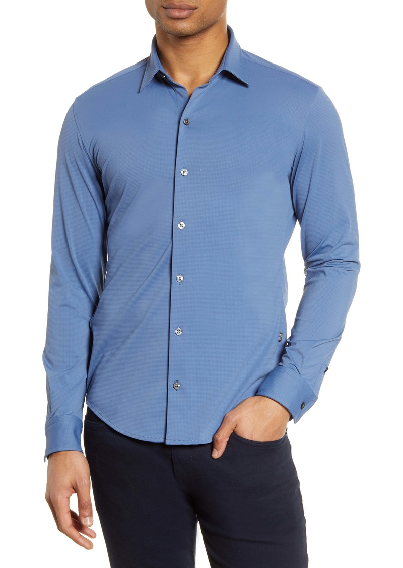 Hugo Boss BOSS Robbie Solid Slim Fit Performance Button-Up Shirt