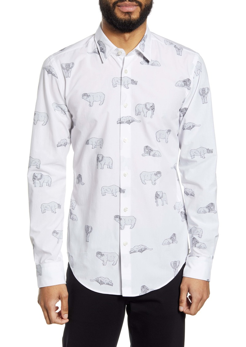 Hugo Boss BOSS Ronni Animal Appliqué Button-Up Shirt