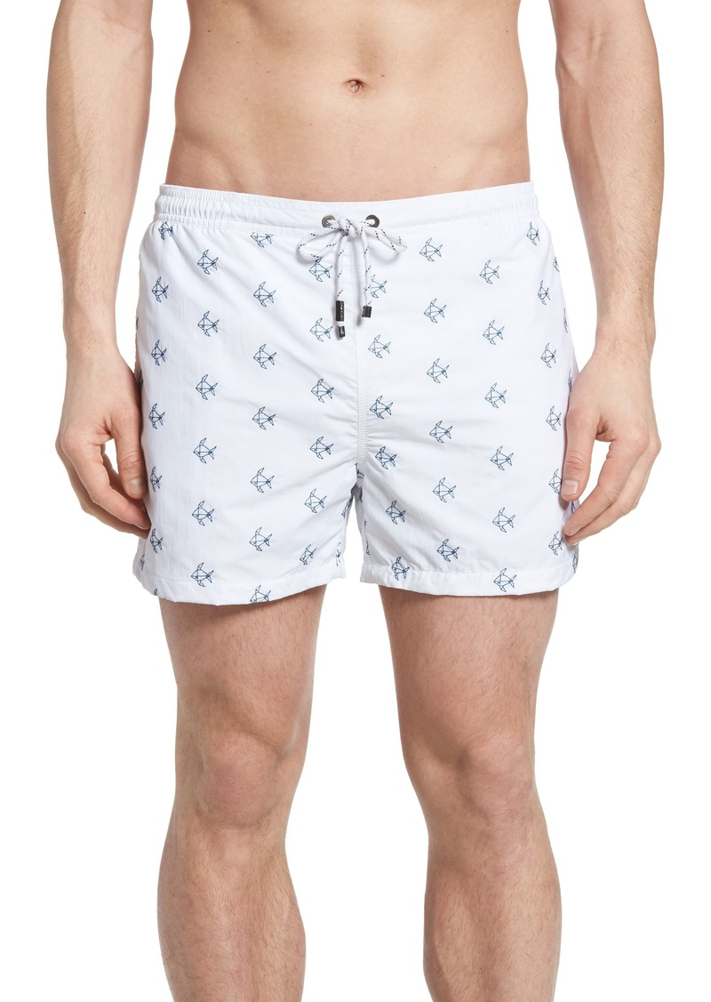 235292988e Hugo Boss BOSS Shark Embroidered Swim Trunks | Swimwear
