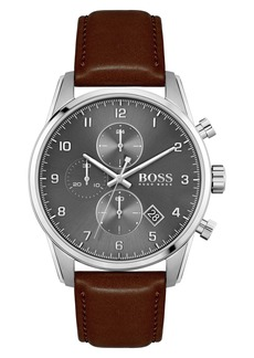 Hugo Boss BOSS Skymaster Chronograph Leather Strap Watch, 44mm