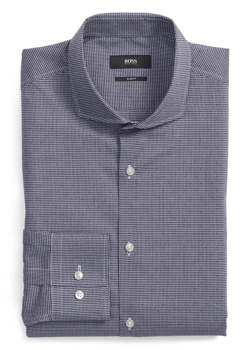 Hugo boss boss ww slim fit check dress shirt dress for Hugo boss slim dress shirt