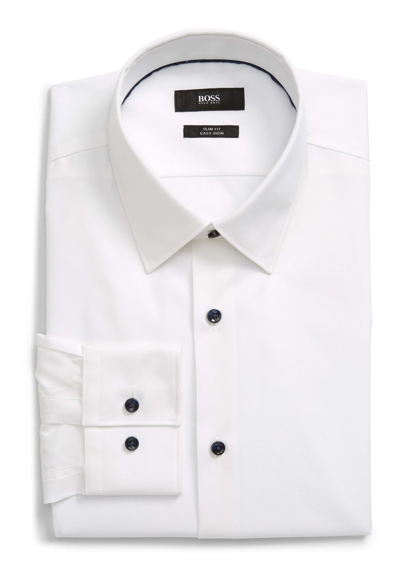 Hugo Boss BOSS Slim Fit Easy Iron Solid Dress Shirt