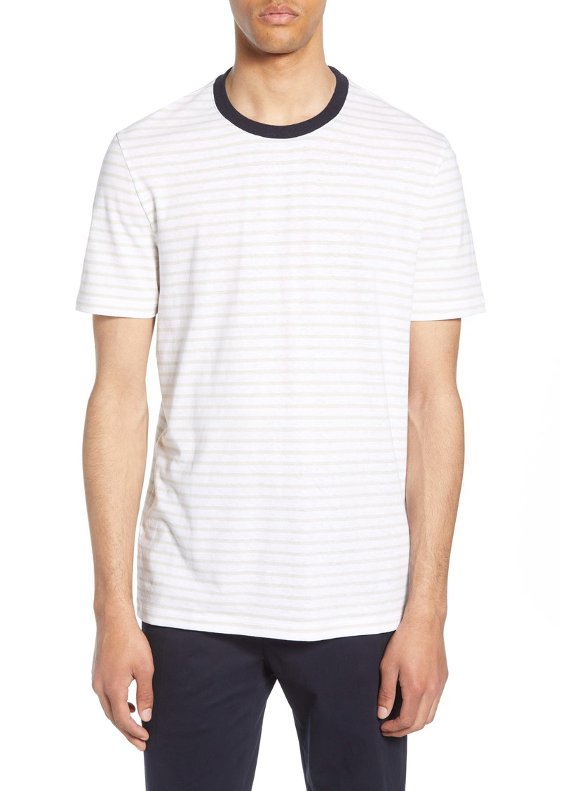 Hugo Boss BOSS Tiburt Regular Fit Stripe Linen Blend T-Shirt