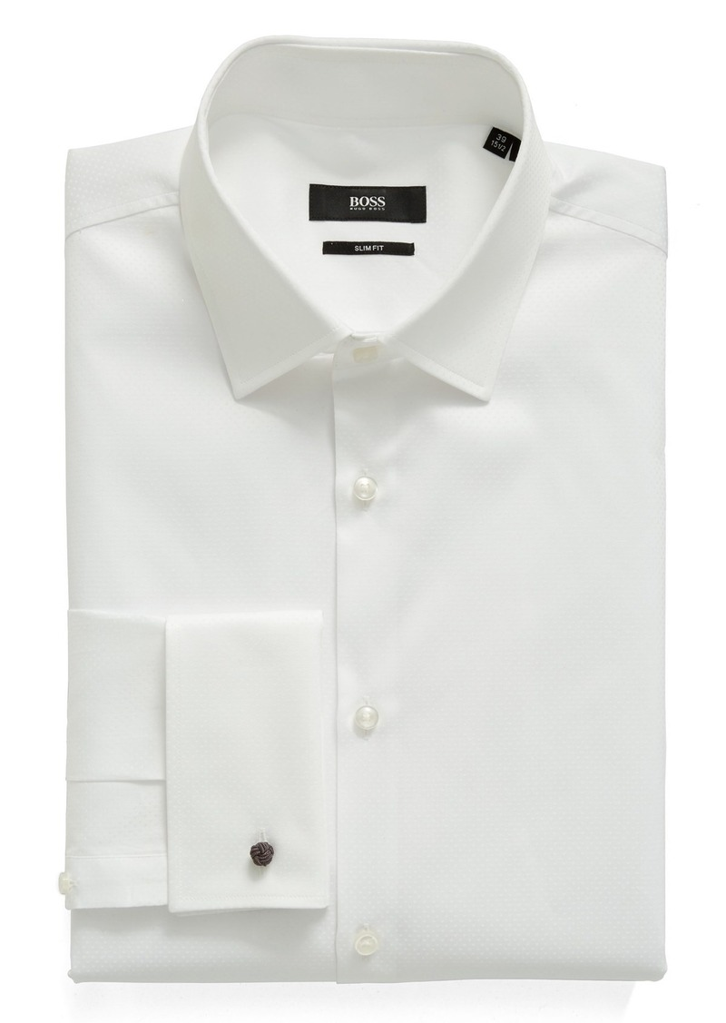 51f39419 Hugo Boss BOSS Trim Fit Solid French Cuff Tuxedo Shirt Now $92.49