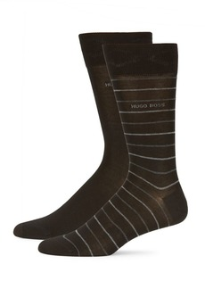 Hugo Boss BOSS Two-Pack Classic and Striped Crew Socks