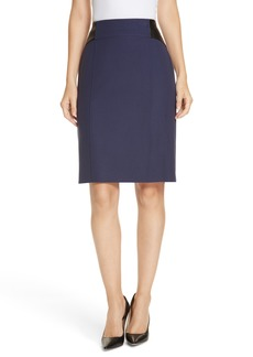 Hugo Boss BOSS Valeta Soft Twill Faux Leather Detail Pencil Skirt (Regular & Petite)