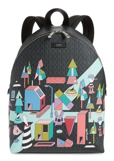 Hugo Boss BOSS x Jeremyville Fantasy Print Faux Leather Backpack