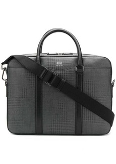 Hugo Boss check print laptop bag