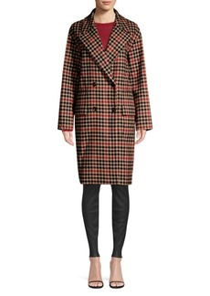 Hugo Boss Check Wool-Blend Double-Breasted Coat