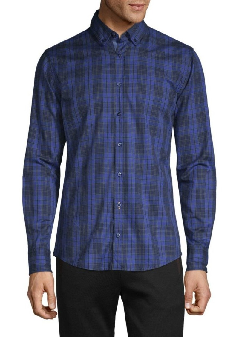 Hugo Boss Checkered-Print Long-Sleeve Shirt