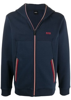 Hugo Boss contrast-stripe zip-up hoodie