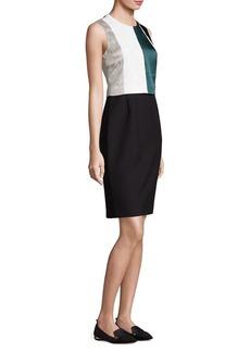 Hugo Boss Dastrina Striped Overlay Sheath Dress