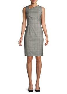 Hugo Boss Delray Natural Wool Stretch Check Sheath Dress