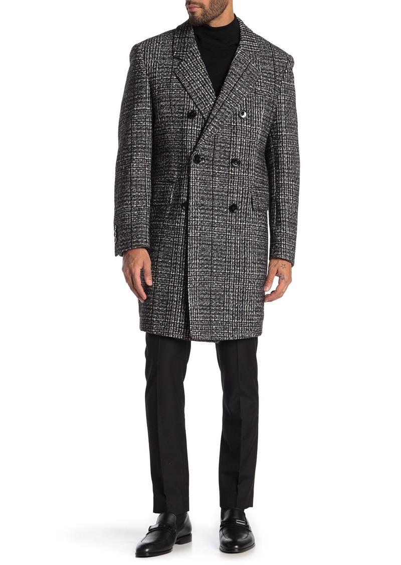Hugo Boss Double Breasted Melange Wool Blend Coat