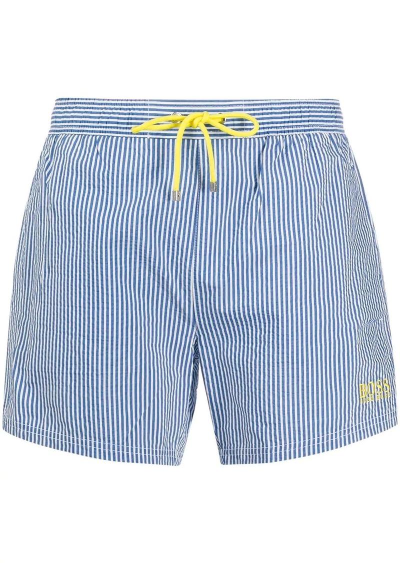 Hugo Boss drawstring striped swim shorts