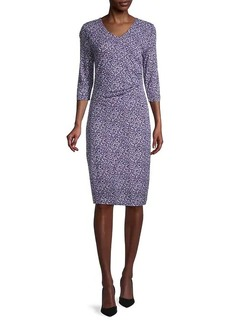 Hugo Boss Epona Printed Jersey V-Neck Dress