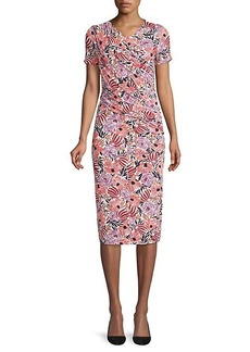 Hugo Boss Erykah Floral Jersey Ruched Dress
