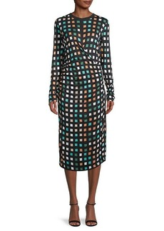 Hugo Boss Esetta Geometric-Print Ruched Dress