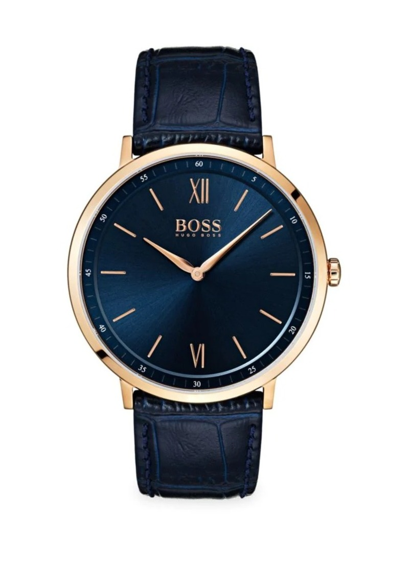 Hugo Boss Essential Ultra Slim Ionic Rose Gold-Plated Stainless Steel Leather Strap Watch