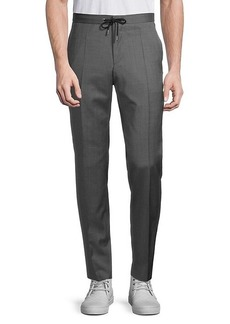 Hugo Boss Flat-Front Wool Drawstring Pants