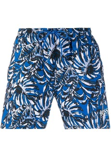 Hugo Boss foliage print swimming trunks