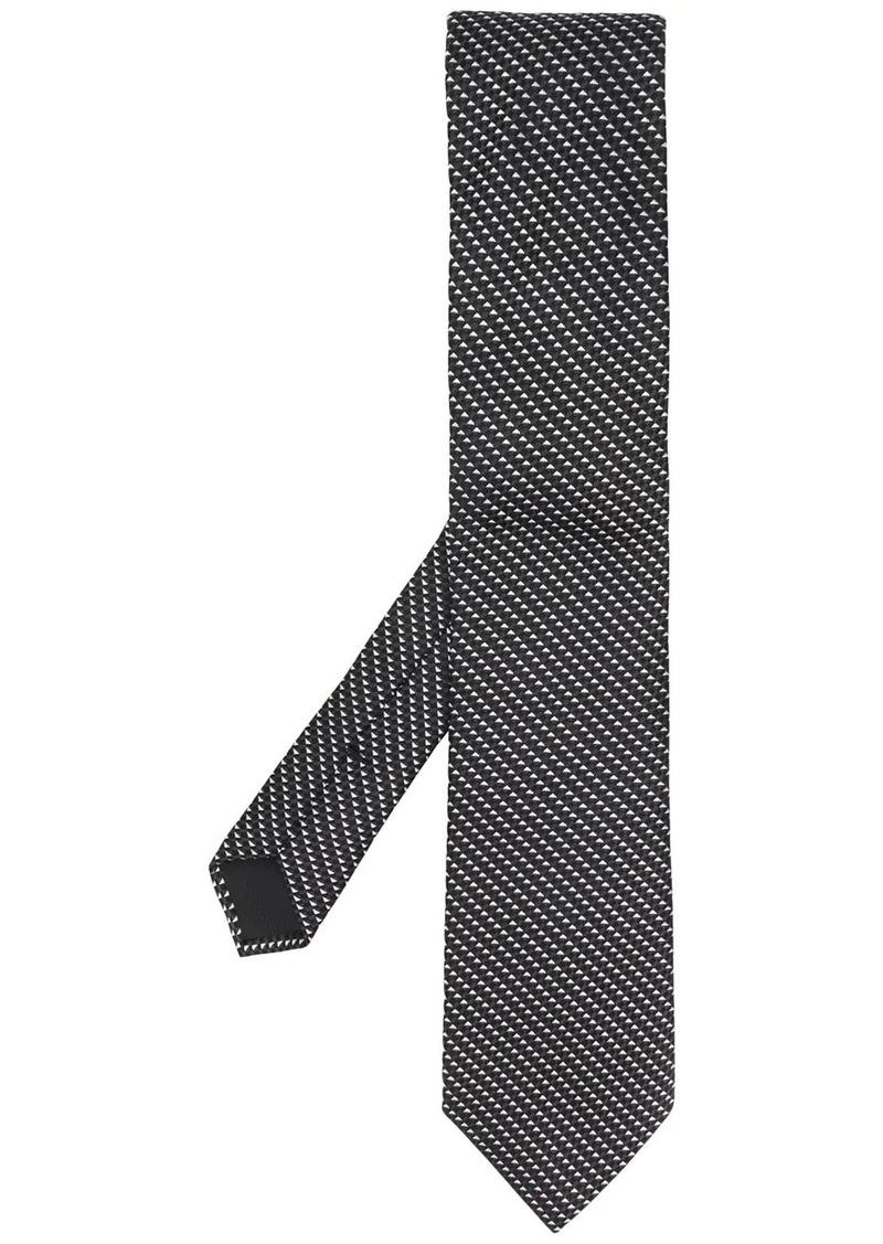 Hugo Boss geometric check print tie