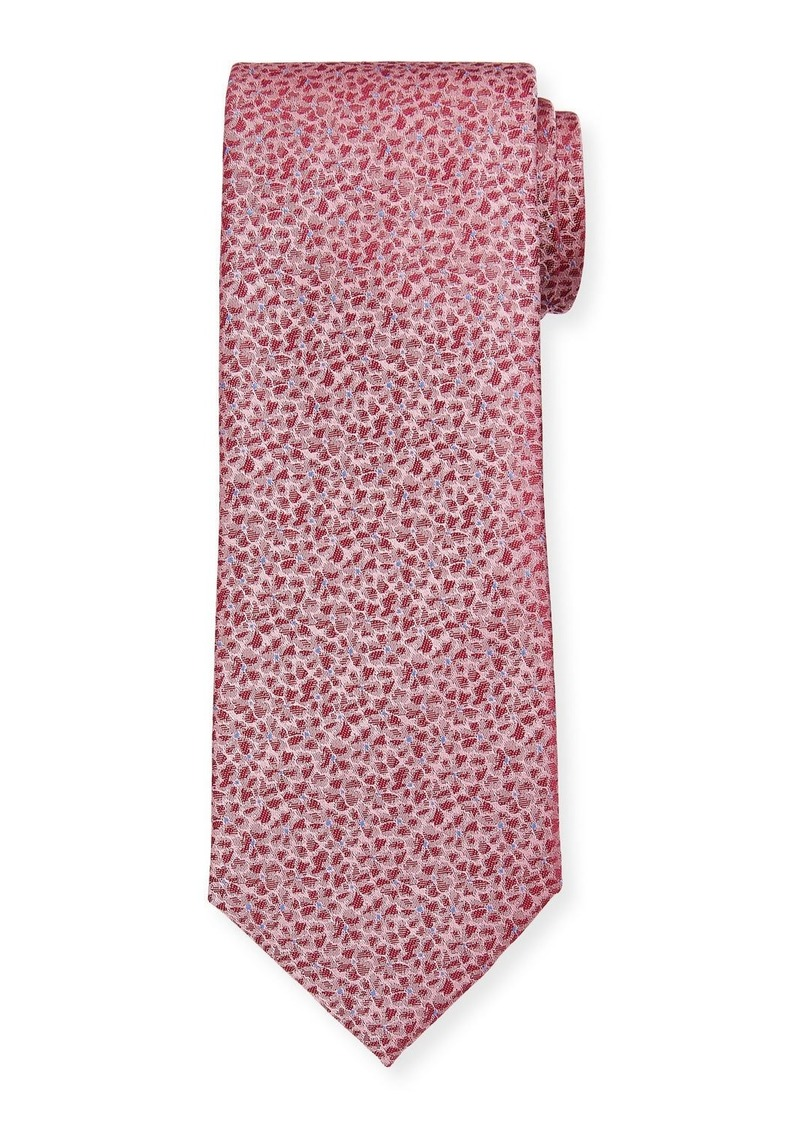 Hugo Boss Gold-Dot Floral Silk Tie