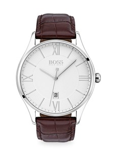 Hugo Boss Governor Stainless Steel And Leather-Strap Watch