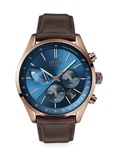 Hugo Boss Grand Prix Ionic Coffee-Plated Stainless Steel & Brown Leather Strap Chronograph Watch