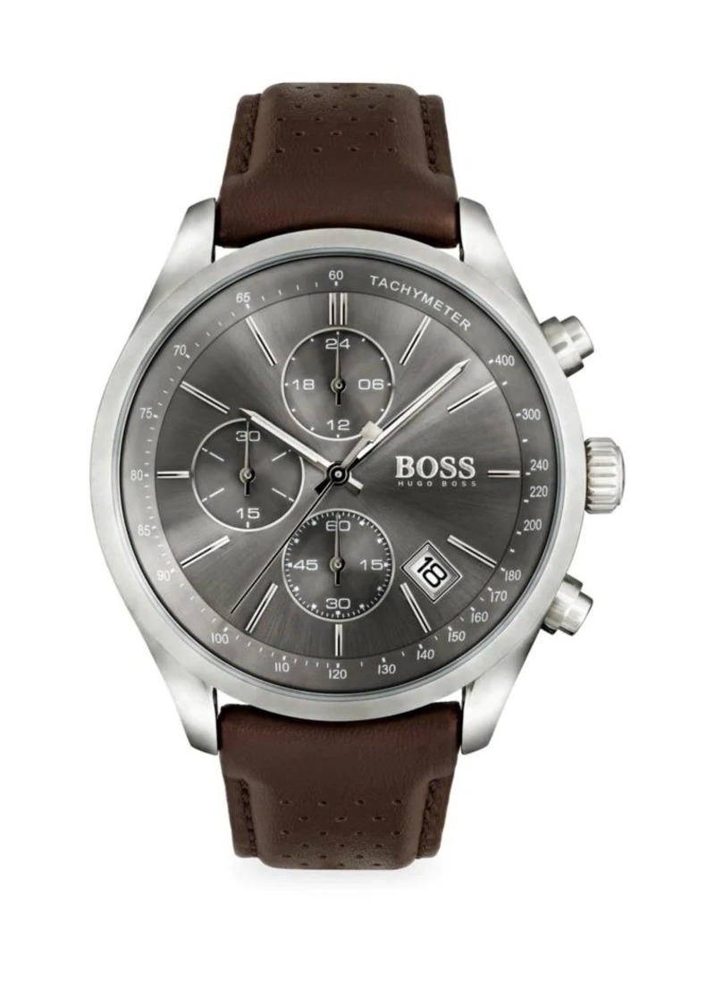 Hugo Boss Grand Prix Stainless Steel and Gray Dial Chronograph Leather Strap Watch