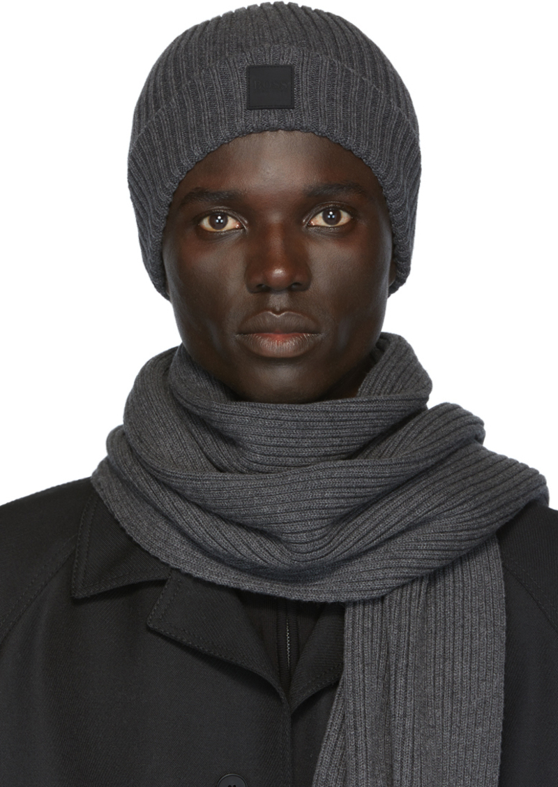 Hugo Boss Grey Gianto Beanie & Scarf Set