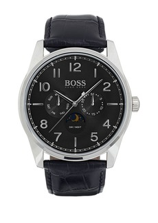 Hugo Boss Heritage Stainless Steel and Leather Strap Watch