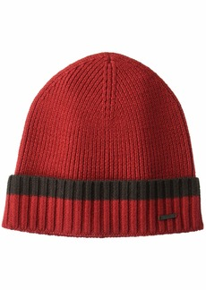 Hugo Boss BOSS Men's Frisk Striped Wool hat Dark red