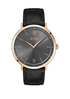 HUGO BOSS Essential Ultra Slim Goldtone Leather Strap Watch