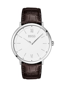HUGO BOSS Essential Ultra Slim Leather Strap Watch