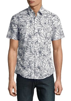 HUGO BOSS Floral Cotton Button-Down Shirt