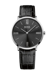 HUGO BOSS Jackson Stainless Steel Sunray Dial Leather Strap Watch