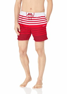 Hugo Boss Men's Sandfish Striped Swim Trunk Open red