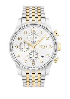 HUGO BOSS NAVIGATOR Round Stainless Steel Case and Two-Tone Bracelet Chronograph Watch