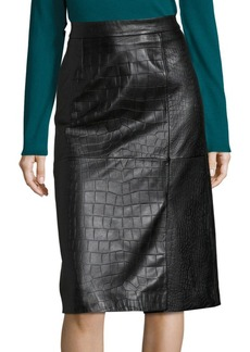 HUGO BOSS Seminca Croc-Embossed Leather Skirt