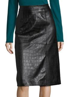 Hugo Boss Seminca Croc-Embossed Leather Skirt