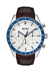 HUGO BOSS Trophy Leather-Strap Watch