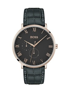 HUGO BOSS William Ultra Slim Leather-Strap Watch